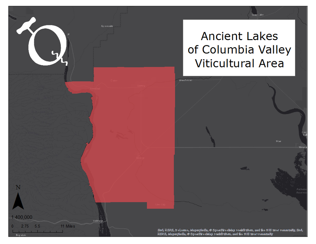 Ancient Lakes of Columbia Valley  map on Qorkz.com