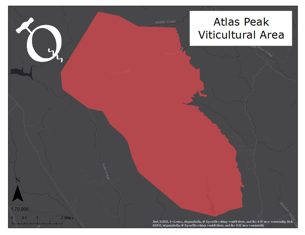 Map of the Atlas Peak AVA