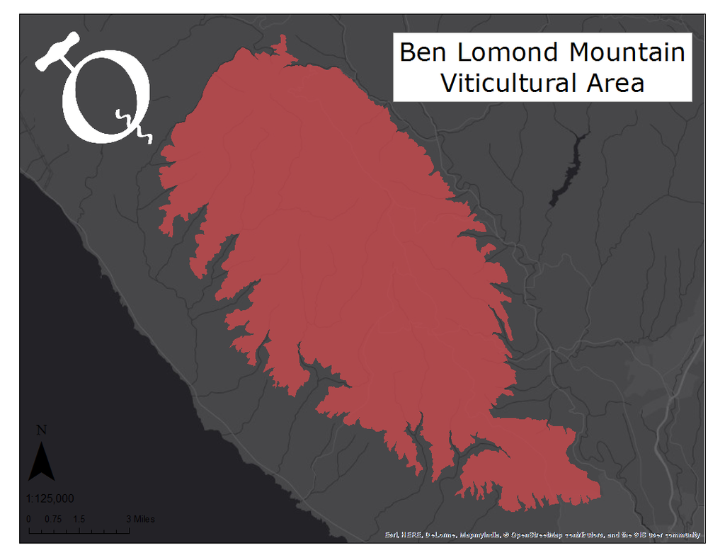 Map of the Ben Lomond Mountain viticultural area