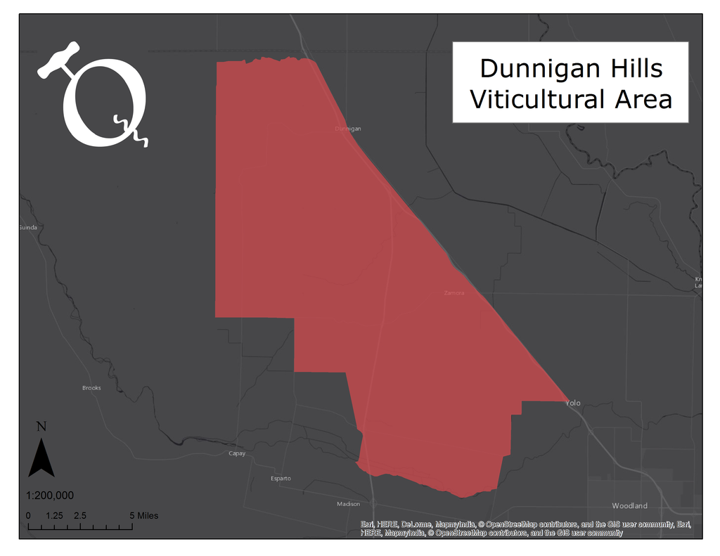 Map of the Dunnigan Hills AVA