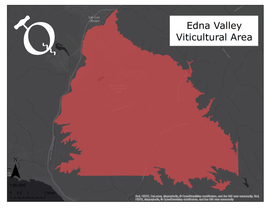 image of the Qorkz Edna Valley AVA map