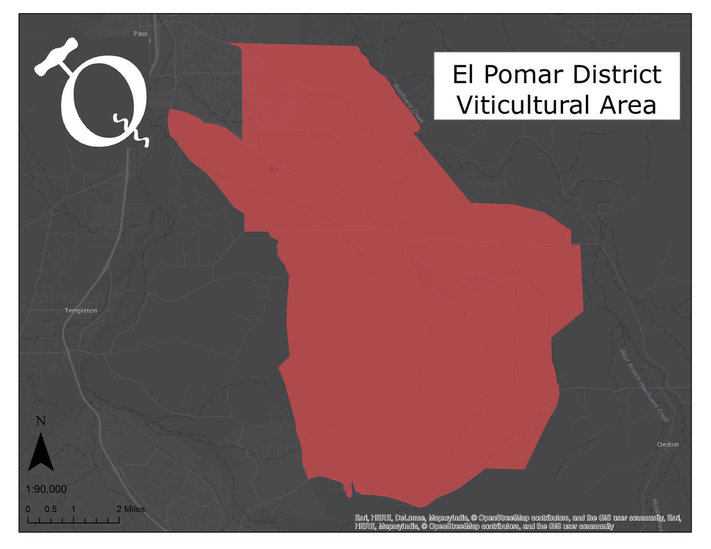 Map of the El Pomar District of Paso Robles