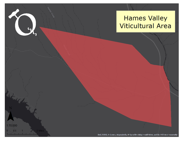 Image of the Hames Valley AVA map
