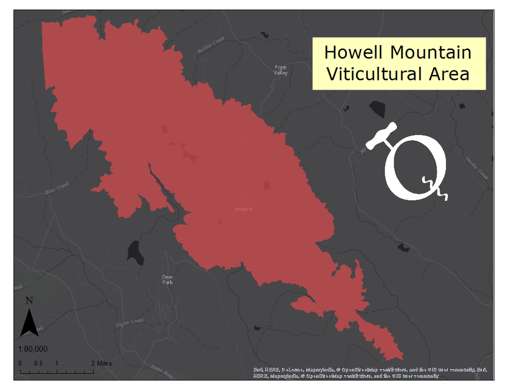 Image of the Howell Mountain AVA map