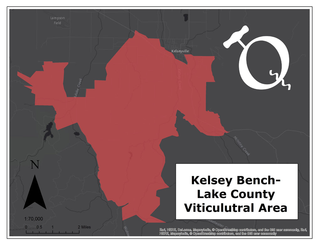 Kelsey Bench - Lake County AVA map