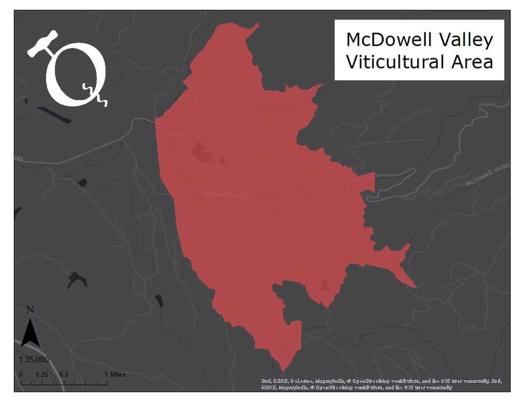 Map of the McDowell Valley AVA
