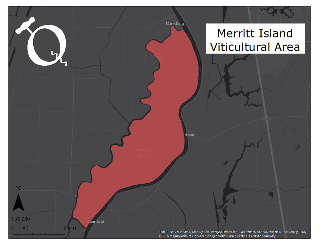 image of the Merritt Island AVA map