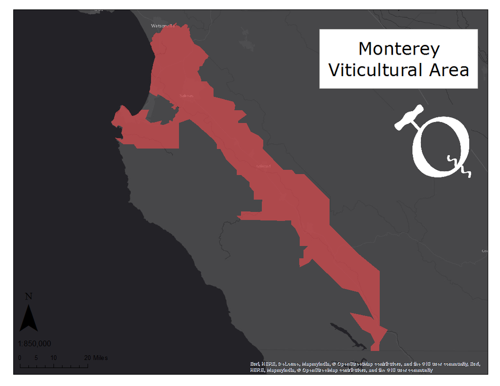 image of the Monterey AVA map