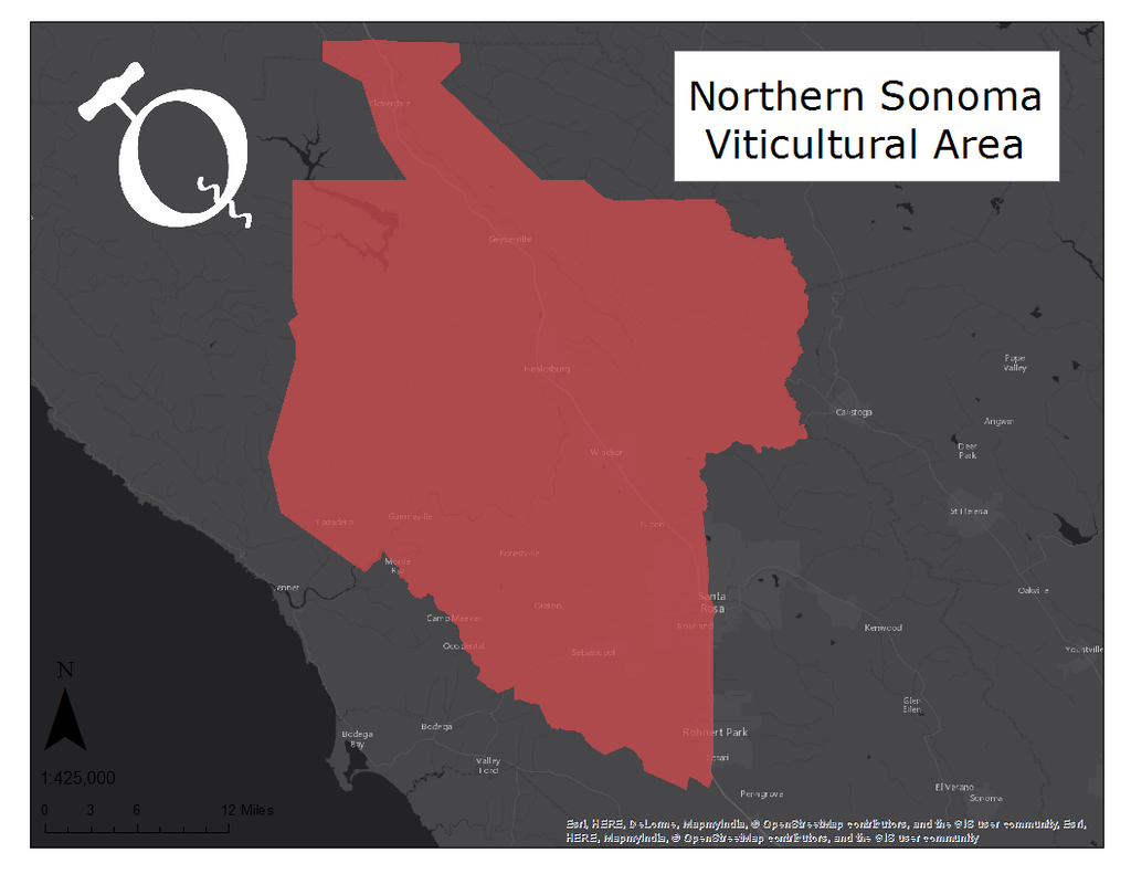 Map of the Northern Sonoma viticultural area
