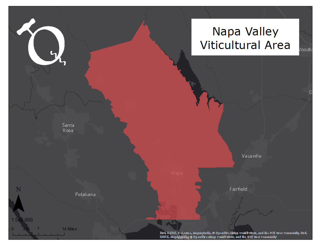 Image of the Napa Valley AVA map