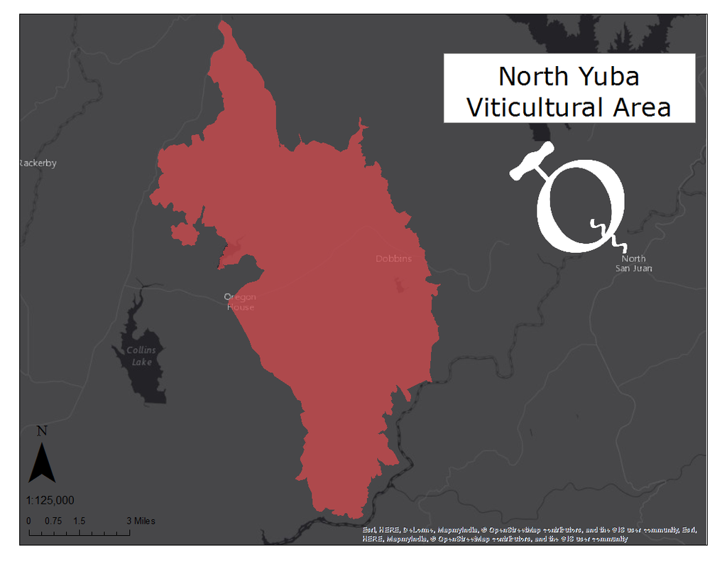 image of the North Yuba viticultural area map