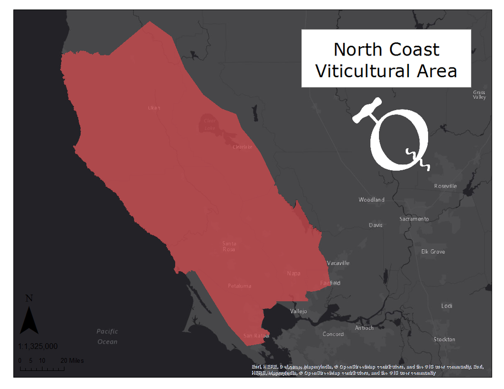 image of the North Coast viticultural area map