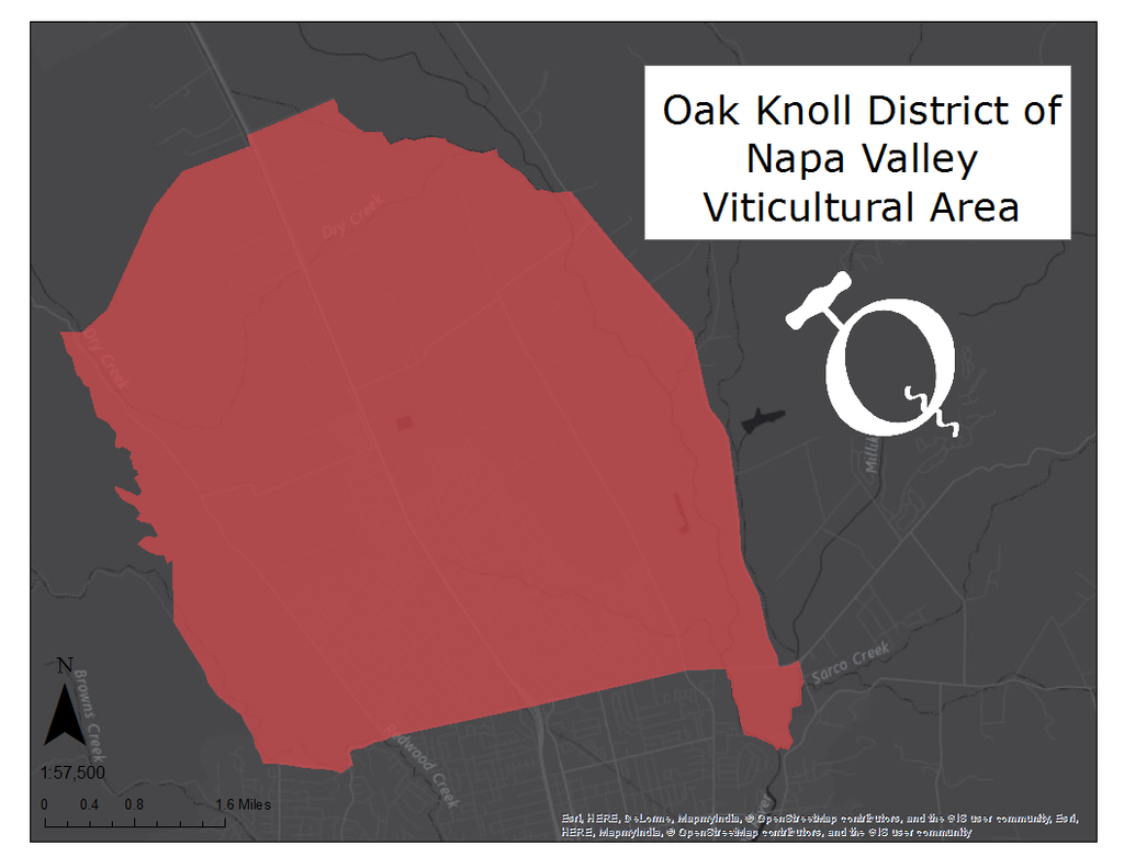 image of the Oak Knoll viticultural area map