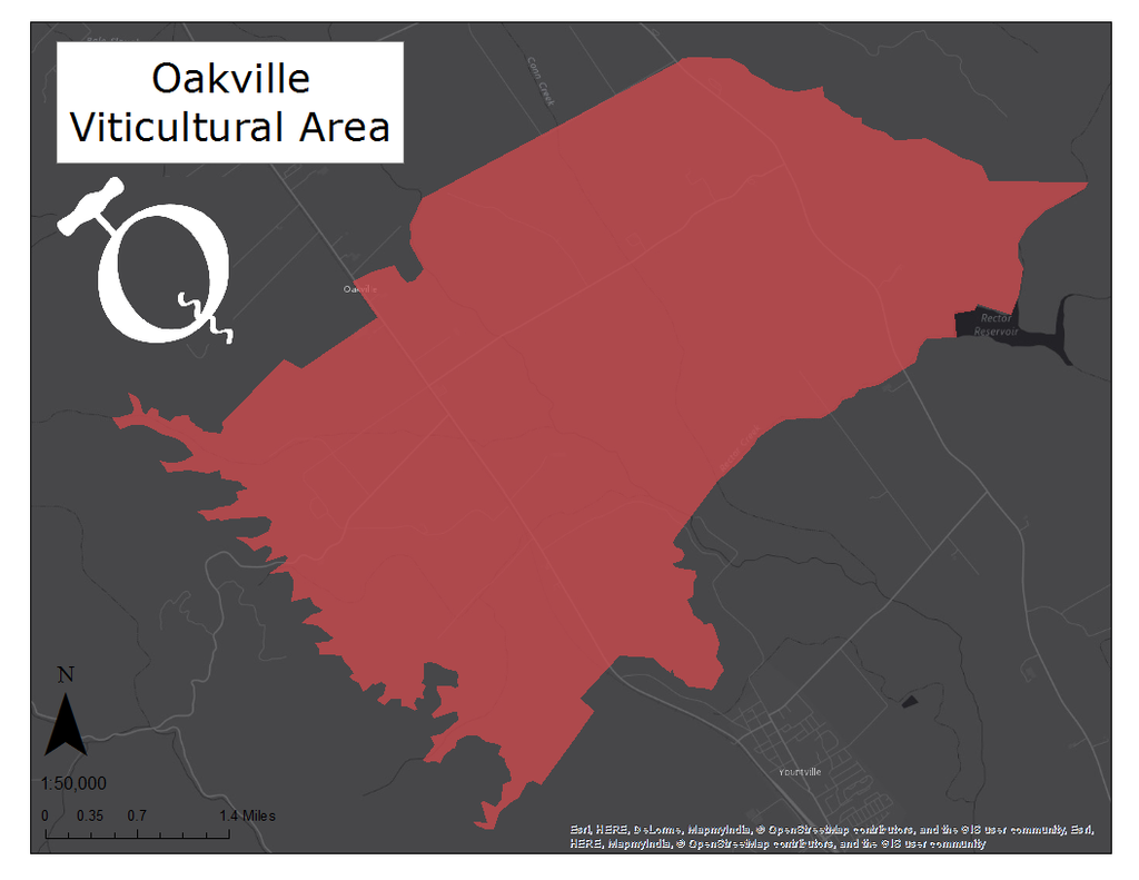 image of the Oakville viticultural area map