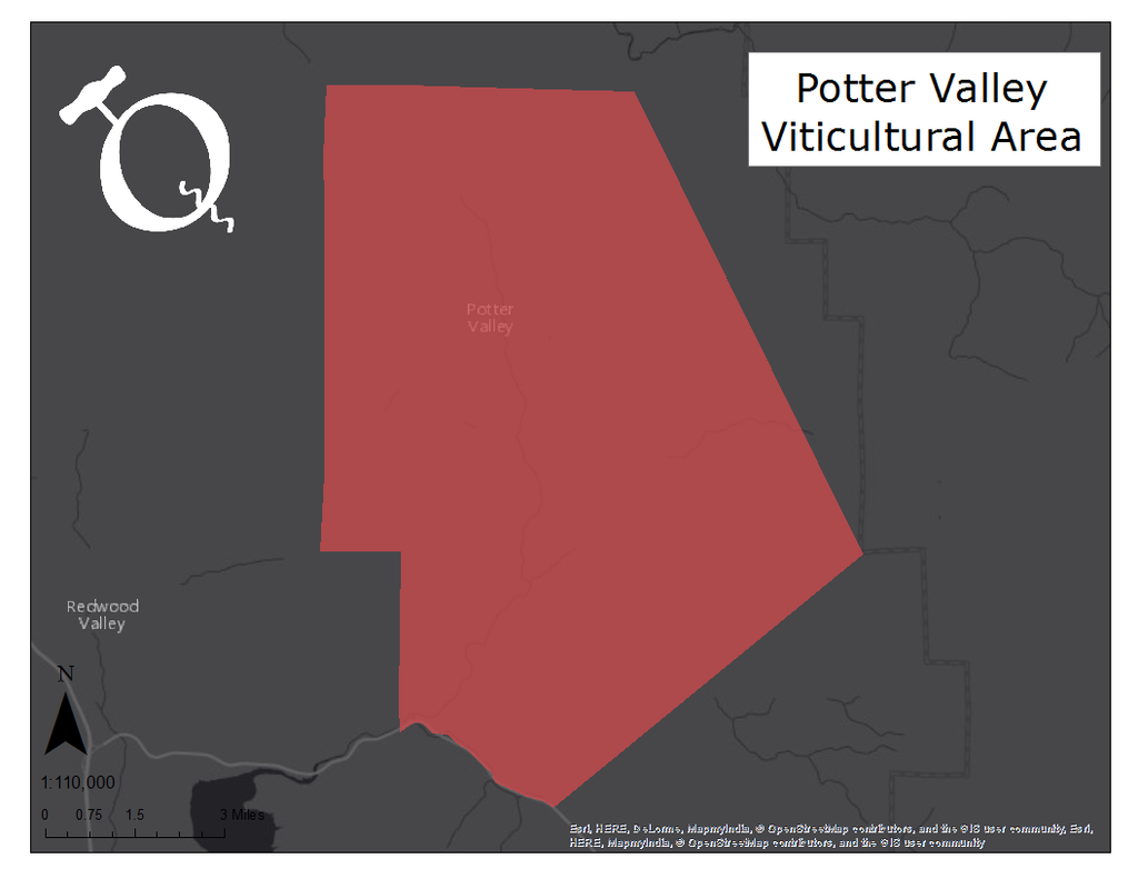 image of the Potter Valley AVA map