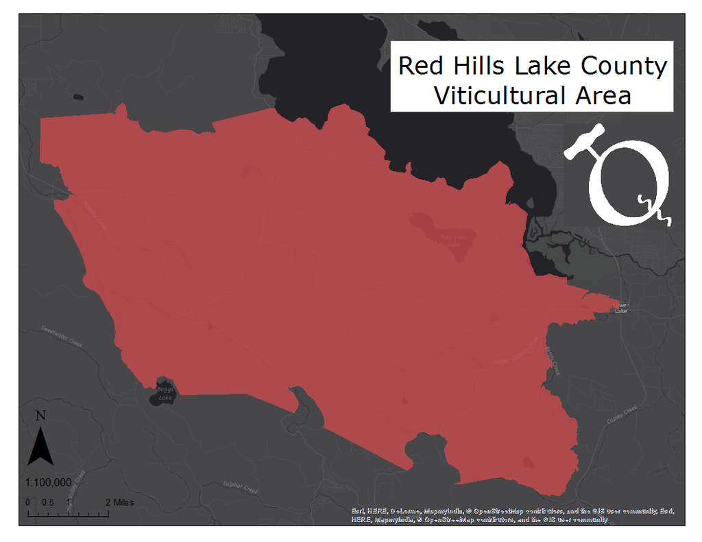 image of Red Hills Lake County AVA map