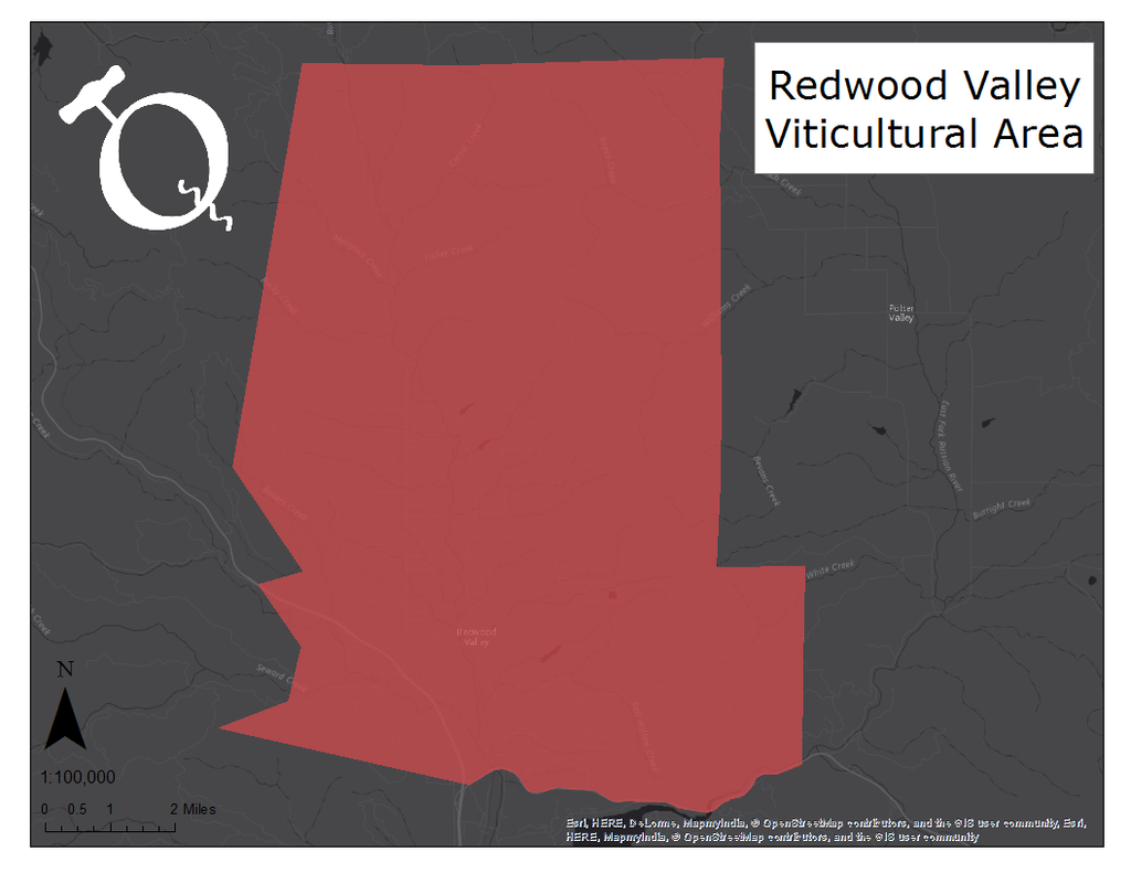 image of Redwood Valley AVA map