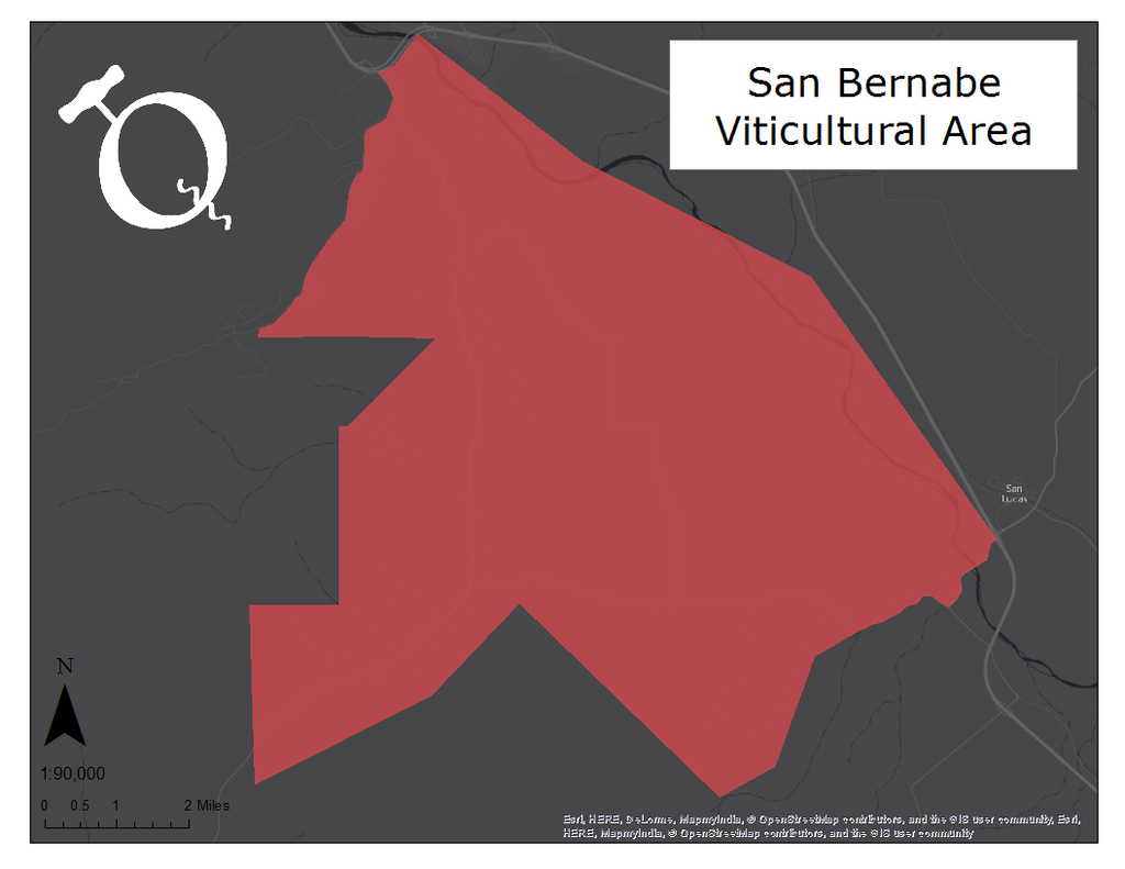 Map of the San Bernabe viticultural area