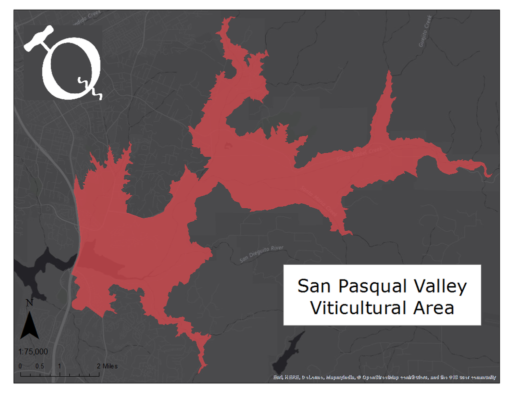 Map of the San Pasqual Valley AVA