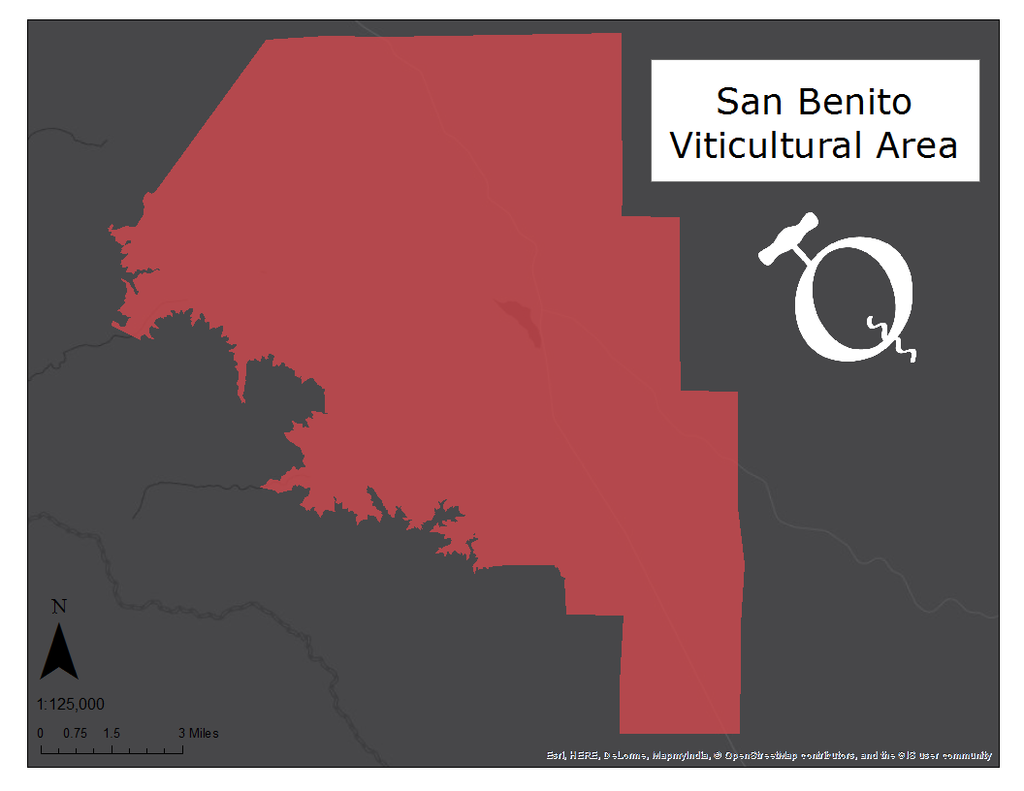 Map of the San Benito AVA