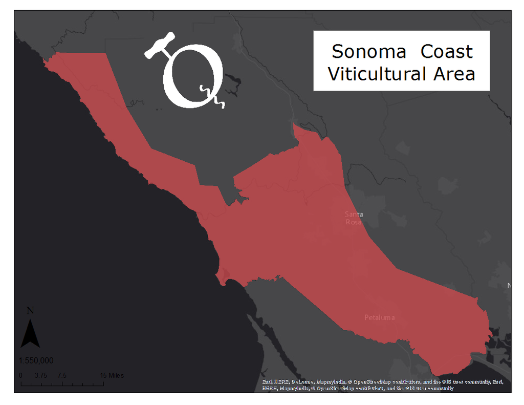 Image of the Sonoma Coast AVA map