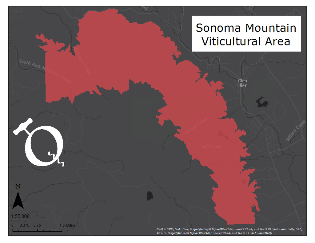 Map of the Sonoma Mountain viticultural area