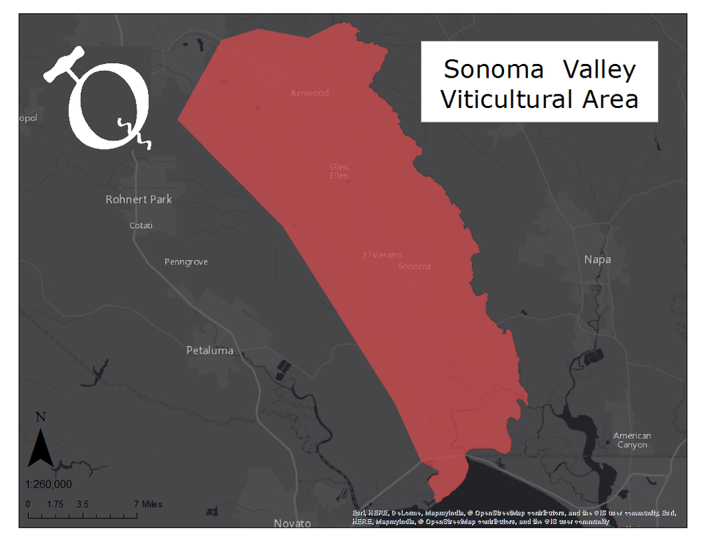 Image of the Sonoma Valley AVA map