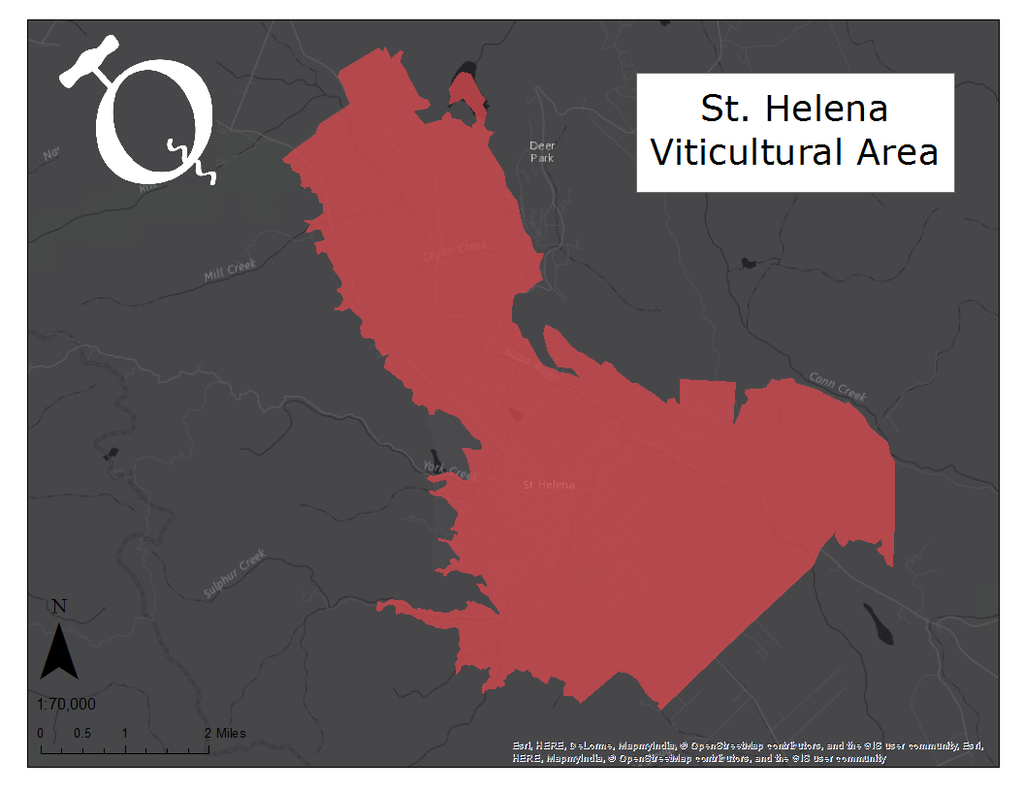 Map of the St. Helena AVA
