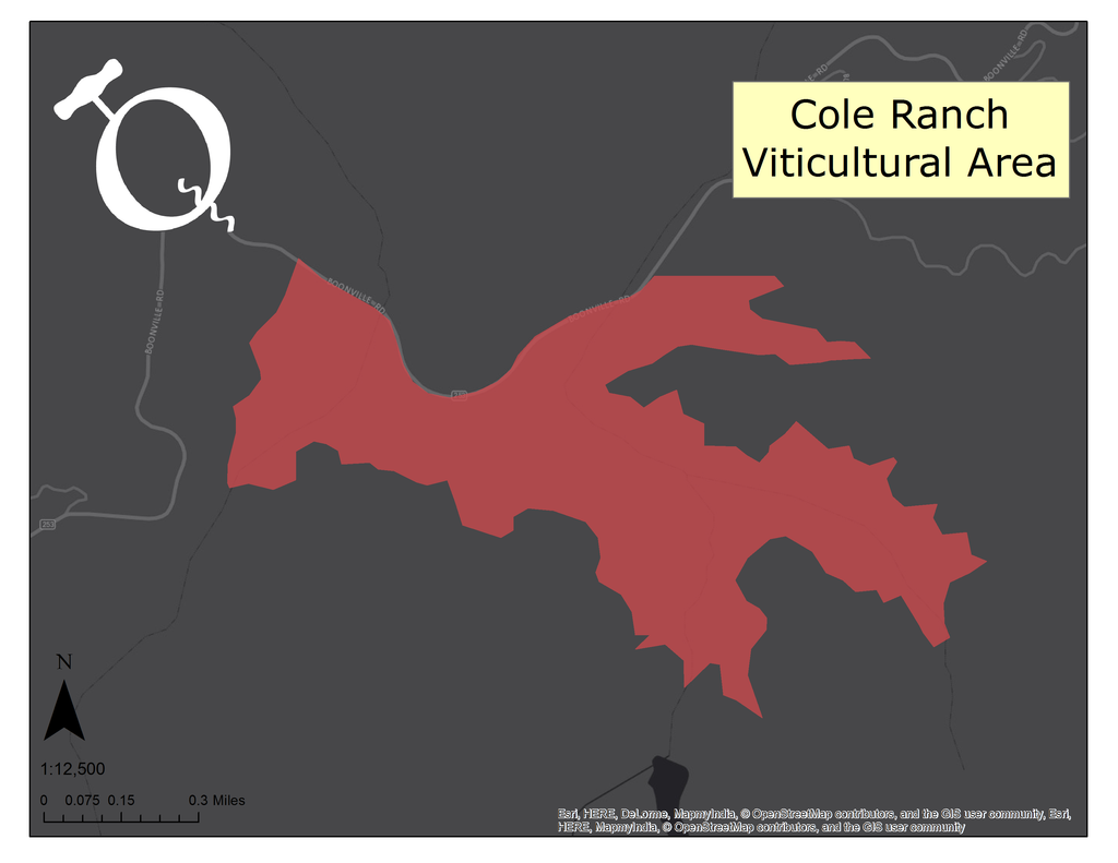 Map of the Cole Ranch AVA