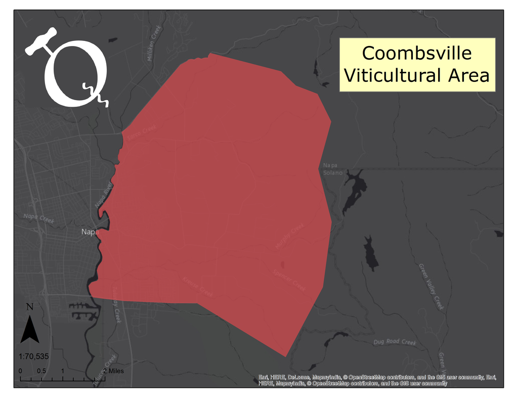 map of Coombsville AVA
