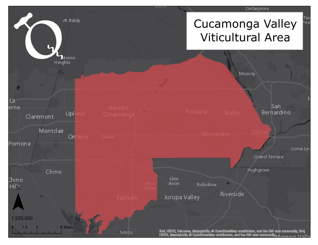 Map of Cucamonga Valley AVA