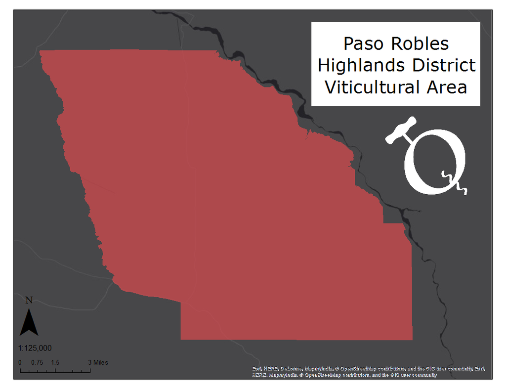 image of the Paso Robles Highlands District AVA map