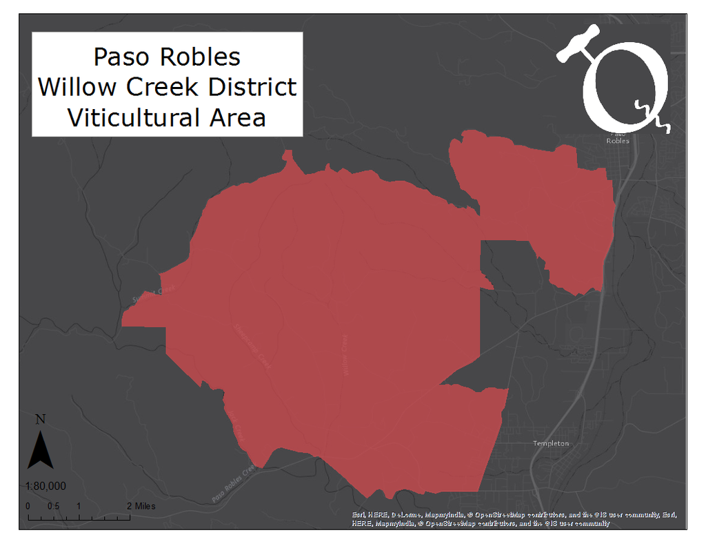Image of the Paso Robles Willow Creek District AVA map