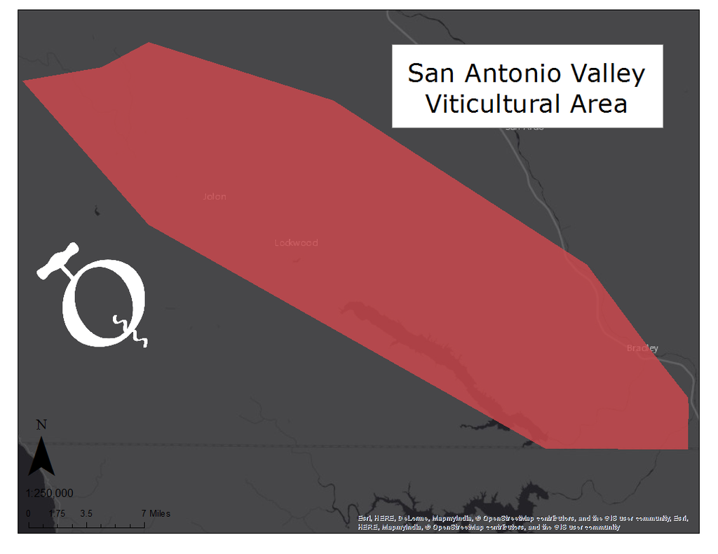 Map of the San Antonio Valley viticultural area