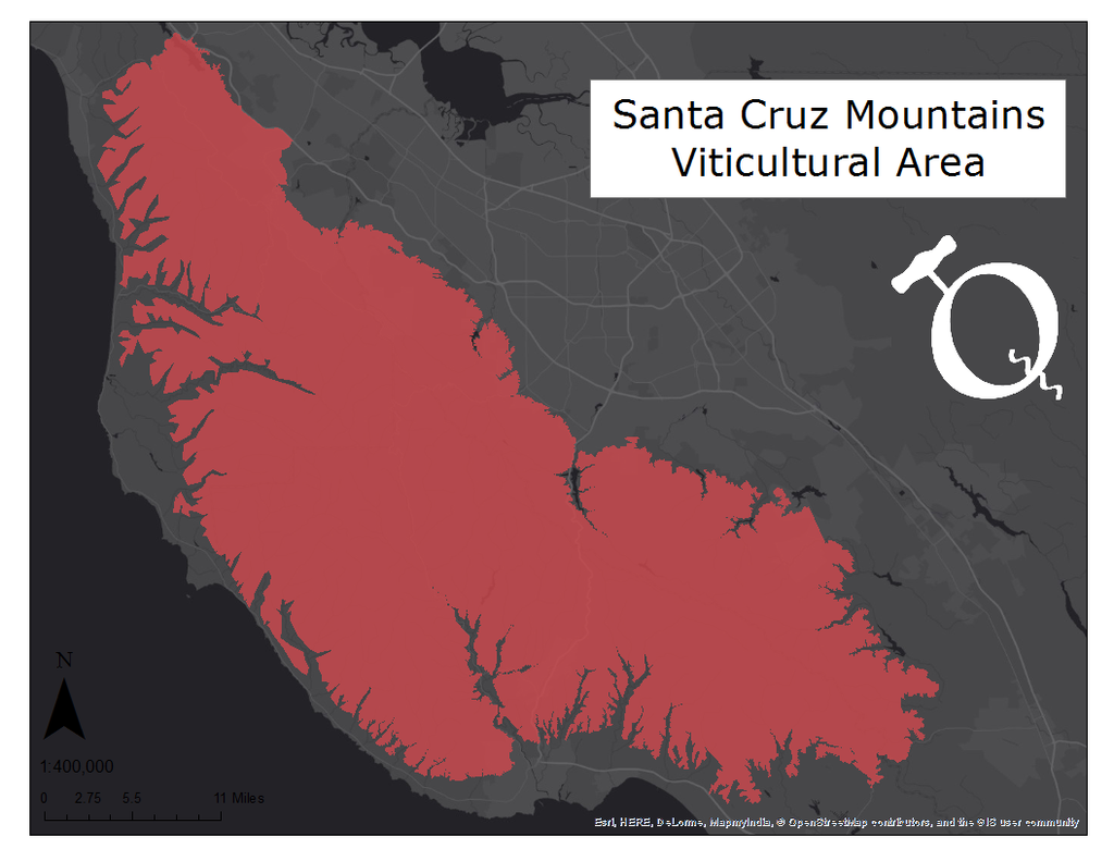 Map of the Santa Cruz Mountains viticultural area