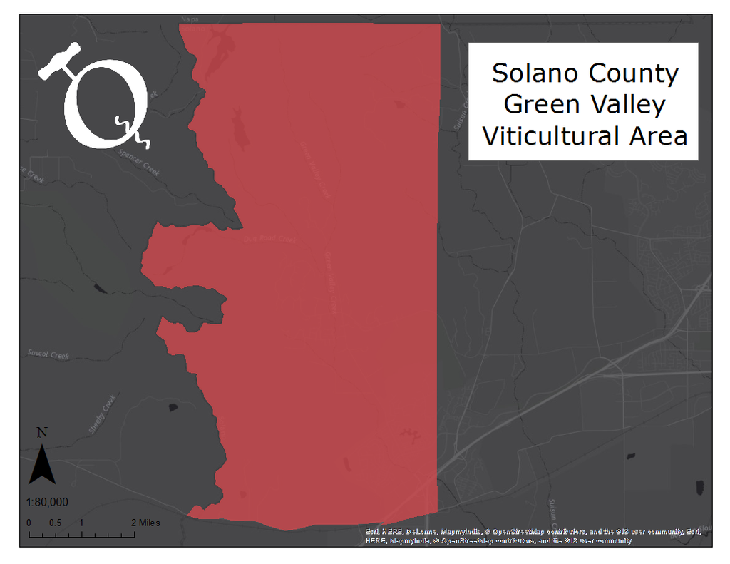 Map of the Solano County Green Valley AVA
