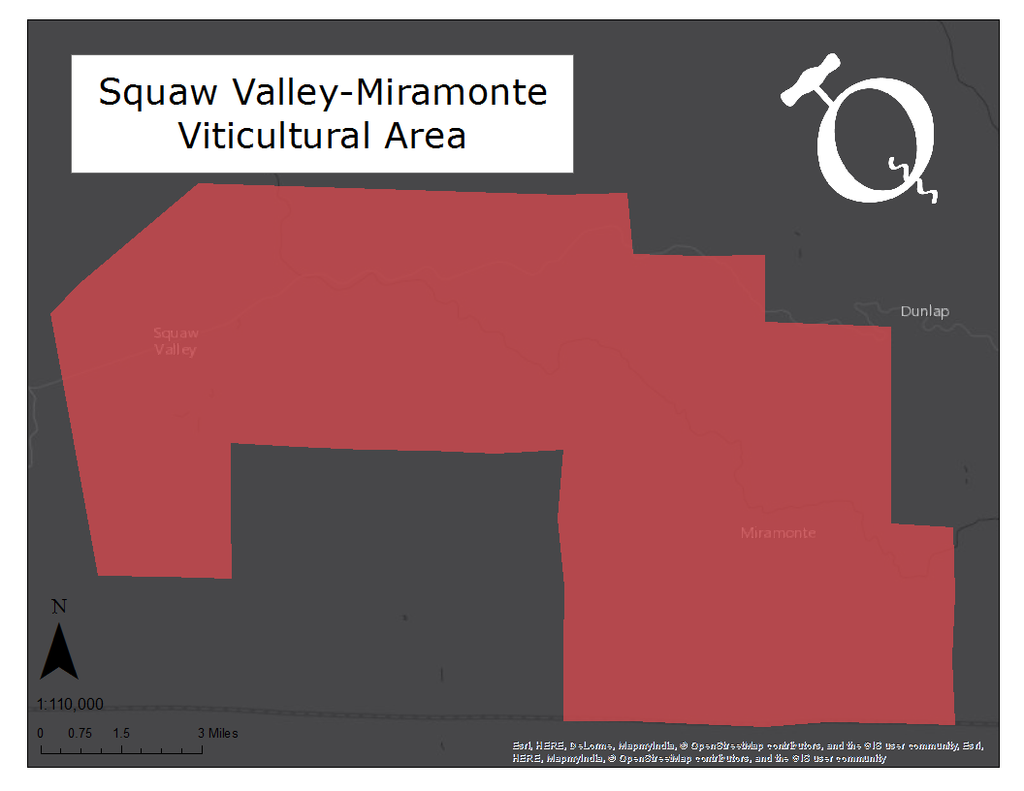 Map of the Squaw Valley-Miramonte viticultural area