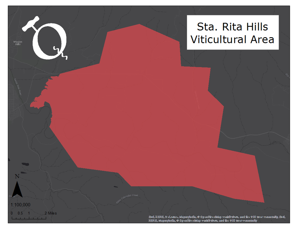 Map of the Sta. Rita Hills viticultural area