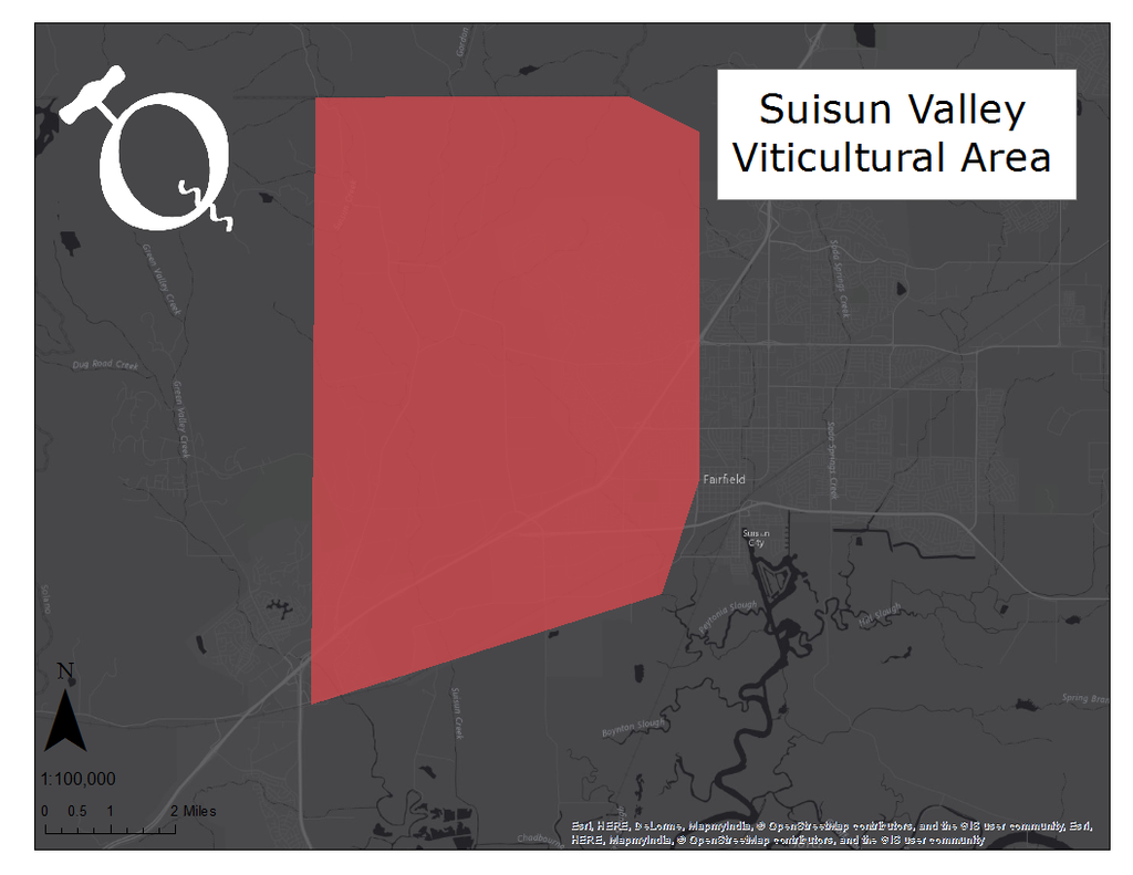 Map of the Suisun Valley AVA