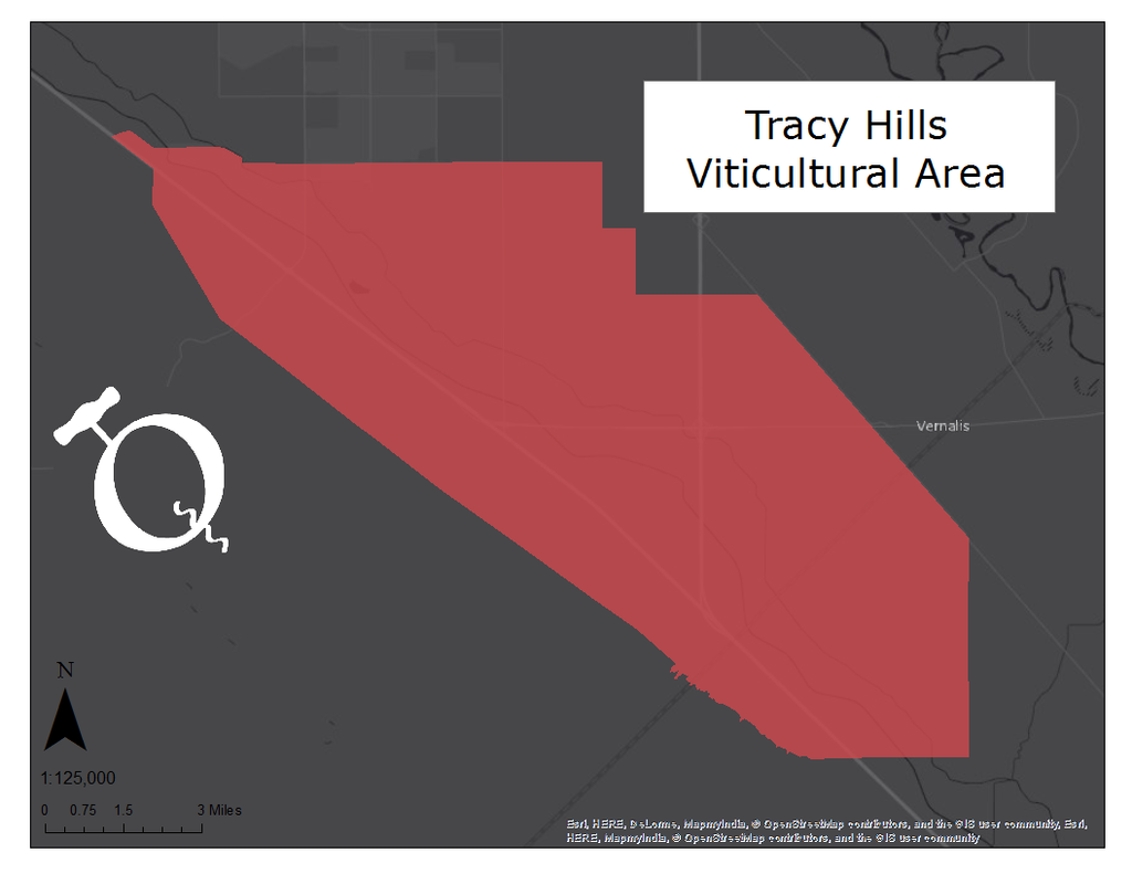 Map of the Tracy Hills viticultural area