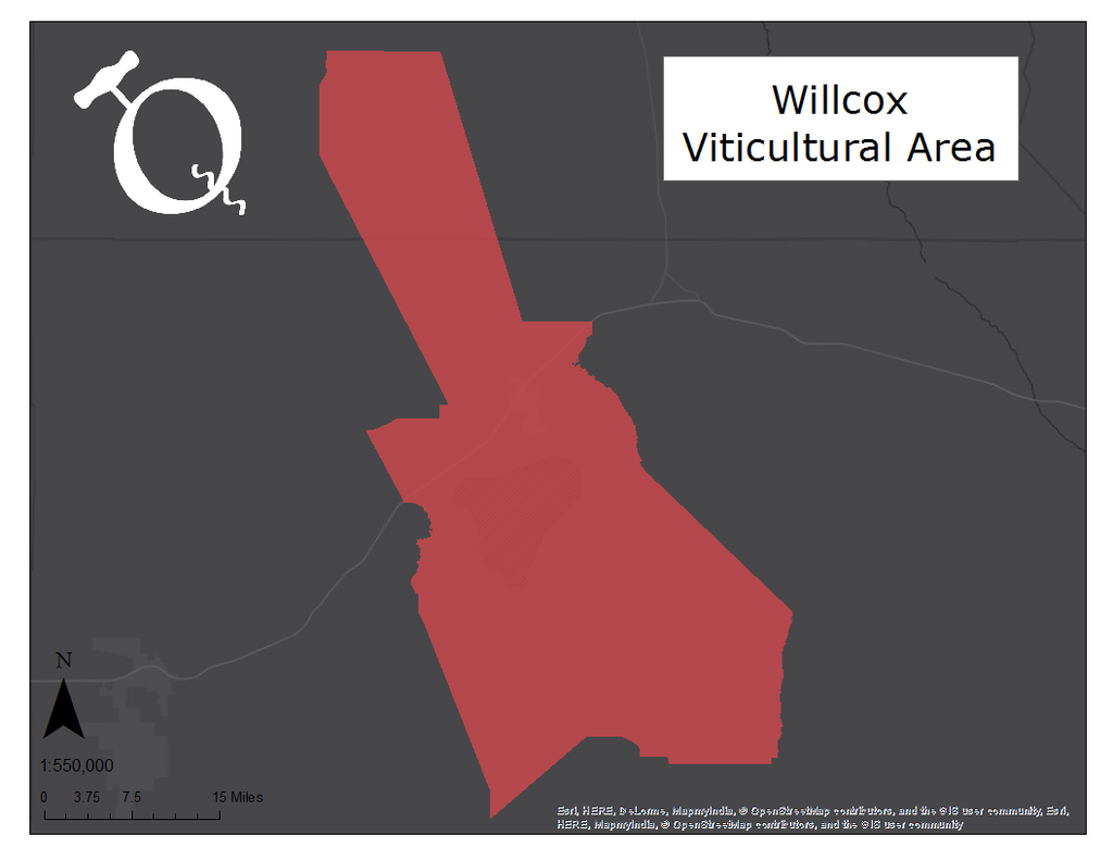 Willcox Viticultural Area map