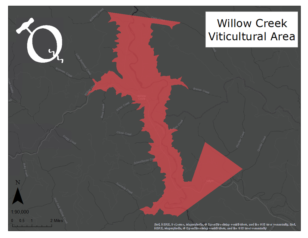 Map of the Willow Creek AVA