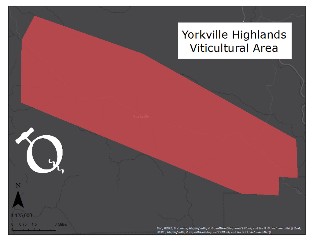 Map of the Yorkville Highlands viticultural area