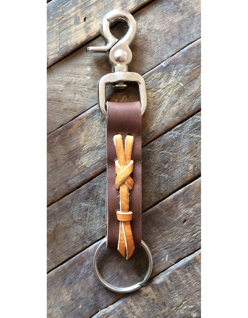 Laced Key Fob in Calico Brawny Leather