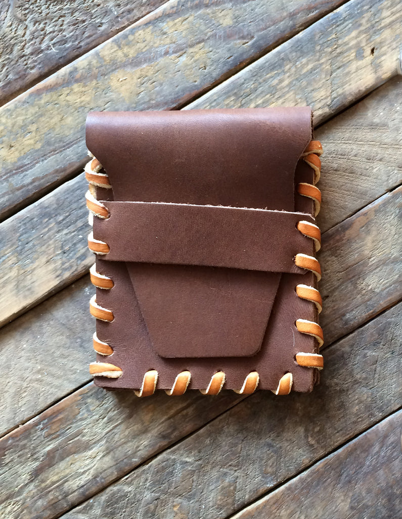 Laced Wallet in Calico Brawny Leather