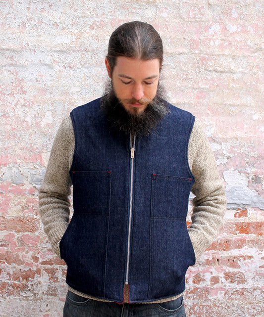 Vintage Camp Blanket and Denim Field Pocket Reversible Vest