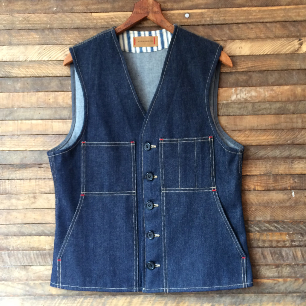 Field Pocket Raw Denim Vest