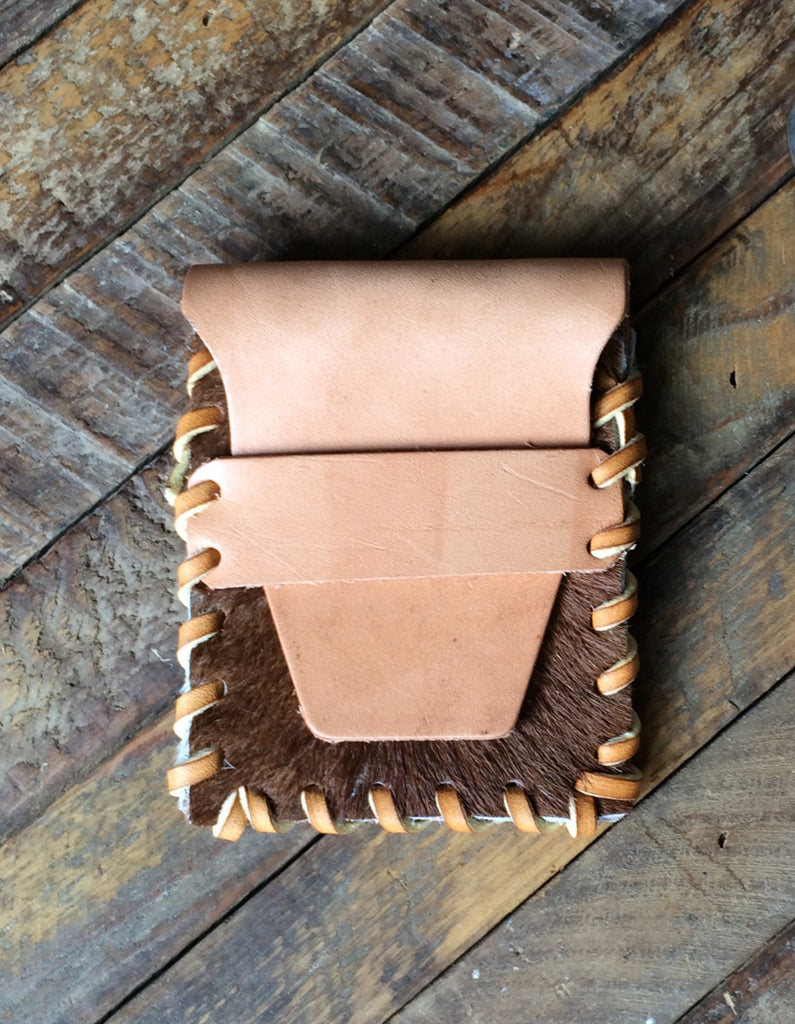 Laced Wallet in Brown and White Cowhide & Vegetable Tanned Leather