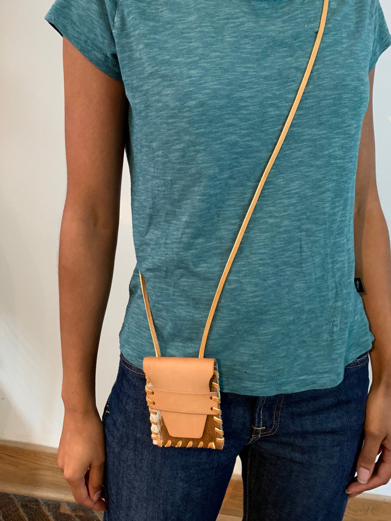 Laced Crossbody Wallet in Brown and White Cowhide & Vegetable Tanned Leather
