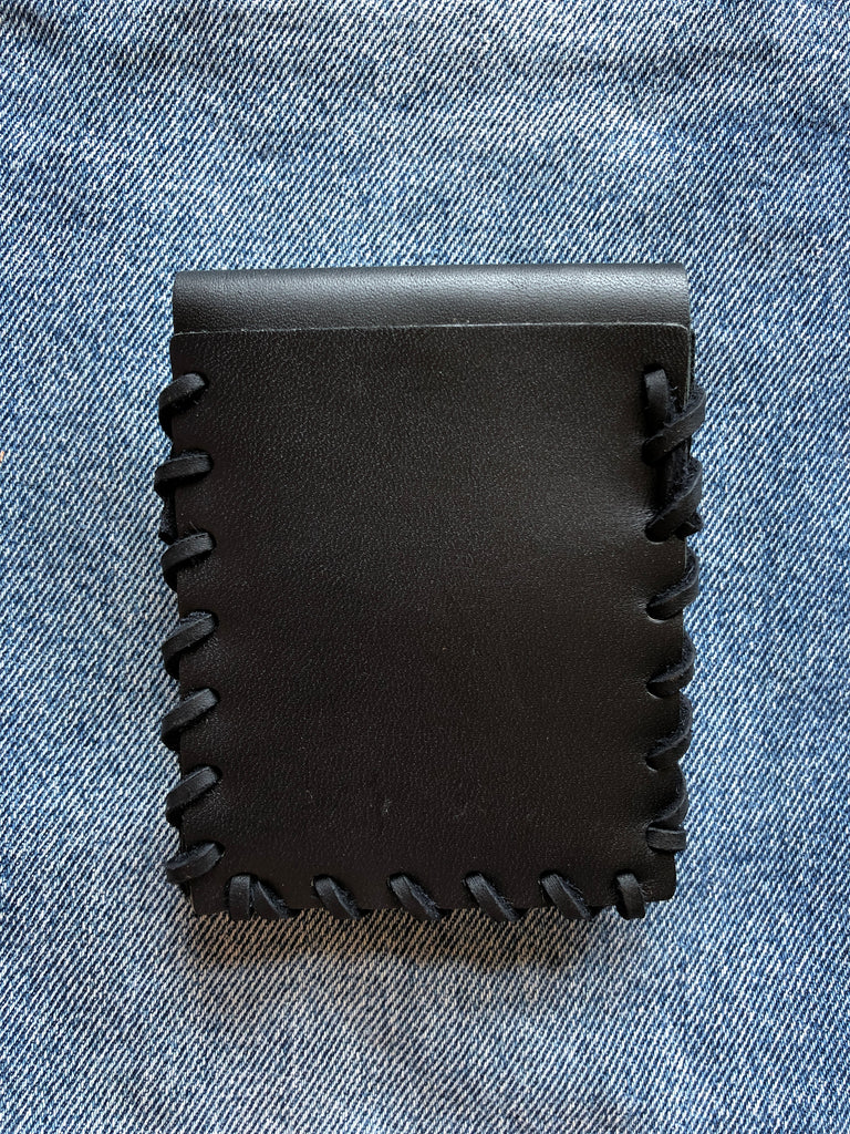 Laced Wallet in Black Leather with Black Rawhide